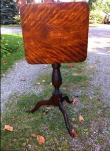 flame birch tilt-top table from Nova Scotia