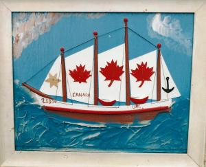 Framed plaster relief painting of a Canadian boat