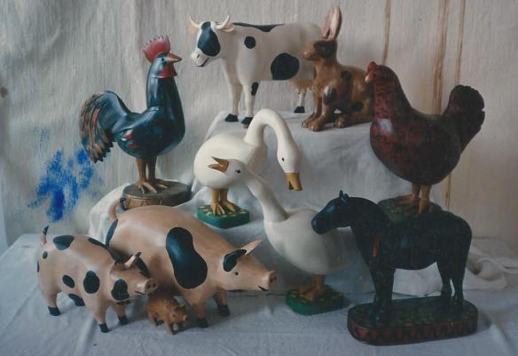 Our painted versions of Pierre et Claire animals