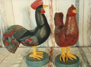 the very popular rooster, and hen with our paint jobs
