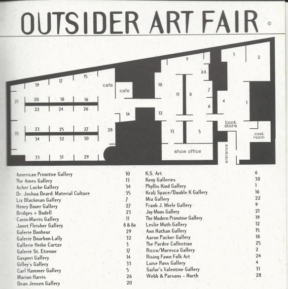 map of booths at the 1996 Outsider Art Fair